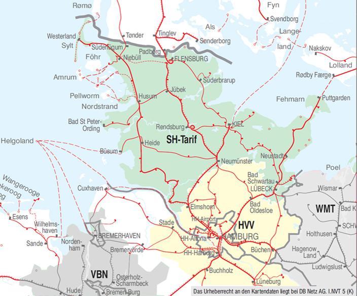 schleswig holstein karte bahn Verbundkarte Schleswig Holstein und Hamburg