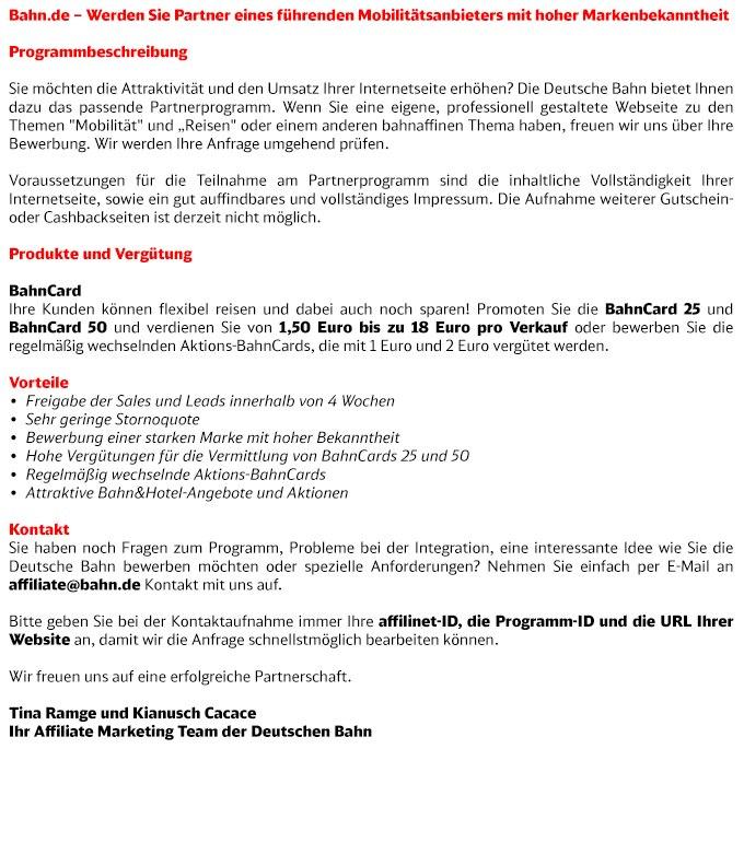 Programmbeschreibung BahnCard und Bahn&Hotel